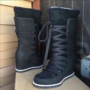 ❤️New Ugg Black Mason Tall wedge Laced Boots sz 6